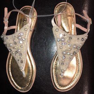 Kate Spade Pearl jewel SAMA thong Flat Sandal NEW